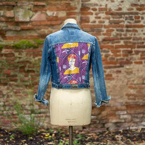 Veste en jean custom Frida violet taille M
