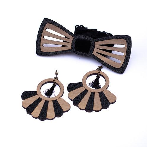 Coffret couple noeud papillon et boucles d'oreilles en bois et paillettes ext