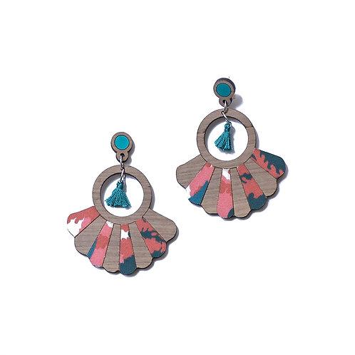 Boucles d'oreilles en bois Frida tissu mimosa
