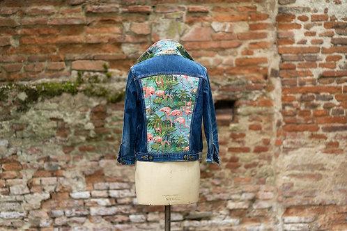 Veste en jean custom flamant rose taille M