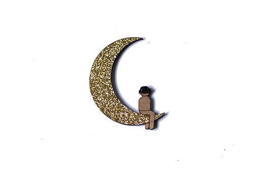 Pins lune en bois et paillette
