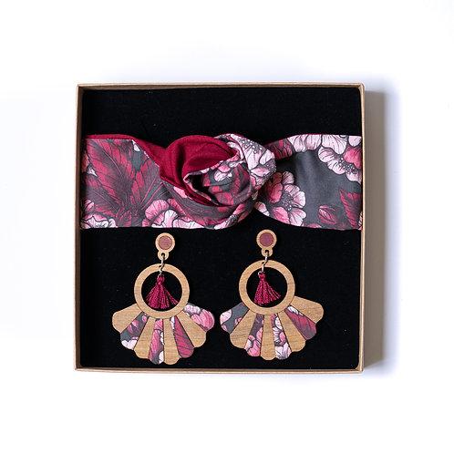Coffret boucles d'oreilles et bandeau cheveux tissu fleurs cerisier