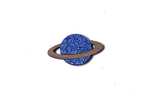 Pins planète en bois et paillette
