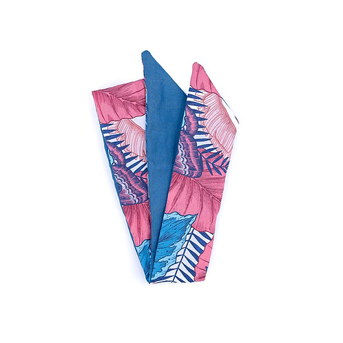 Bandeau cheveux réversible papillon uni bleu