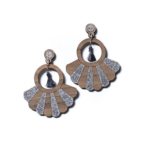 Boucles d'oreilles en bois Frida paillettes argent