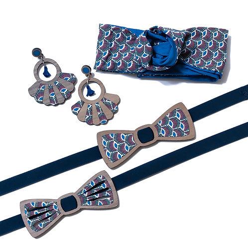 Coffret amour noeud papillon et boucles d'oreilles ou bandeau tissu wax bleu