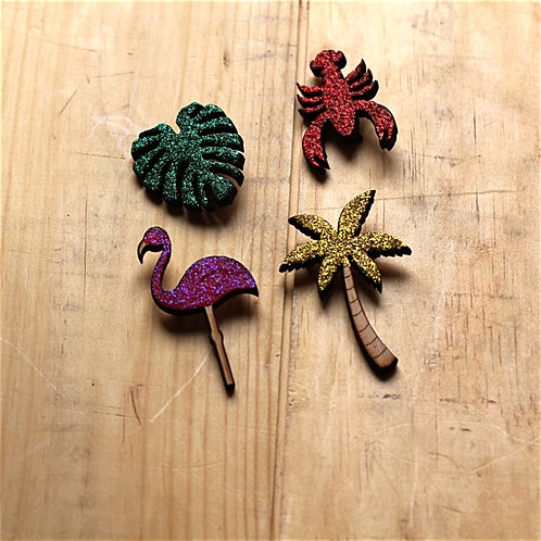 Lot de 4 broches en bois