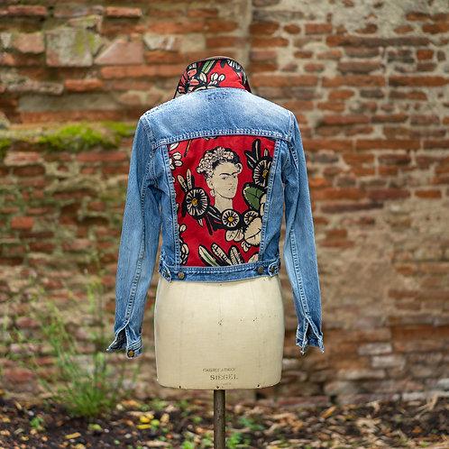 Veste en jean custom Frida rouge taille M
