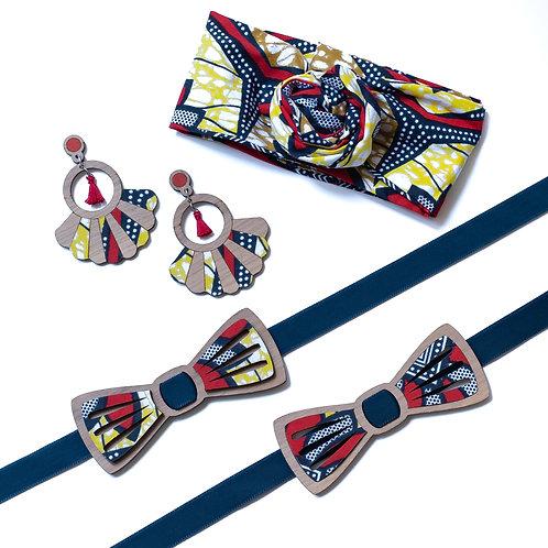 Coffret amour noeud papillon et boucles d'oreilles ou bandeau tissu wax