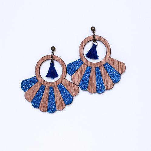 Boucles d'oreilles en bois et paillette bleue