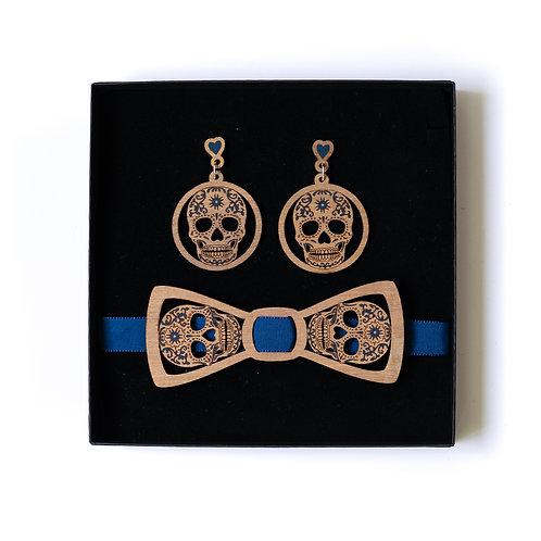 Coffret amour noeud papillon et boucles d'oreilles en bois calavera bleu