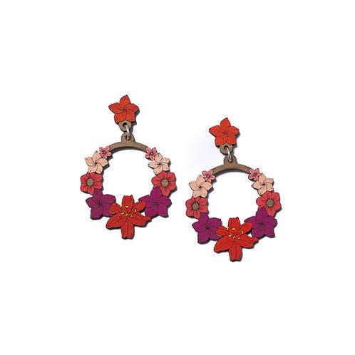 Boucles d'oreilles couronne de fleurs rouge