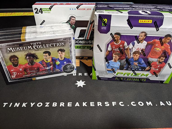 UCL TOPPS MUSEUM 2021 2 BOXES AND EPL PRIZM HOBBY 1 BOX RANDOM - BREAK4
