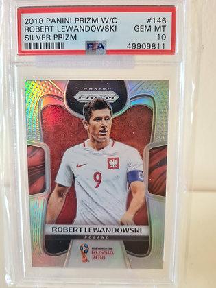 Robert Lewandowski 2018 Panini World Cup Prizm Silver Prizm PSA 10 GEM