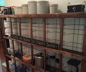 DIY kitchen shelf and storage space mattress from an old mattress spring.
