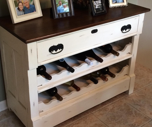 DIY old dresser converted into a wine rack.