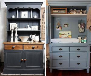 Convert an old dresser into a modern hutch.