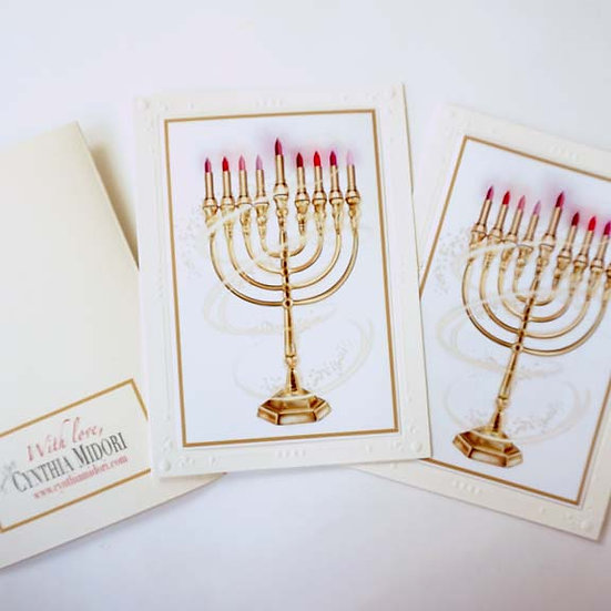 Lipstick Menorah (single card)