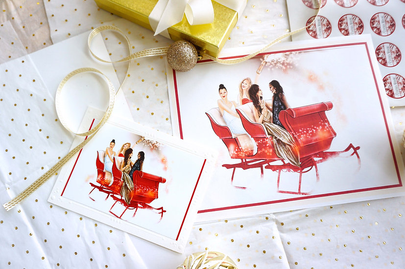 Season to Sleigh (pack of 4 cards & 4 illustration prints)