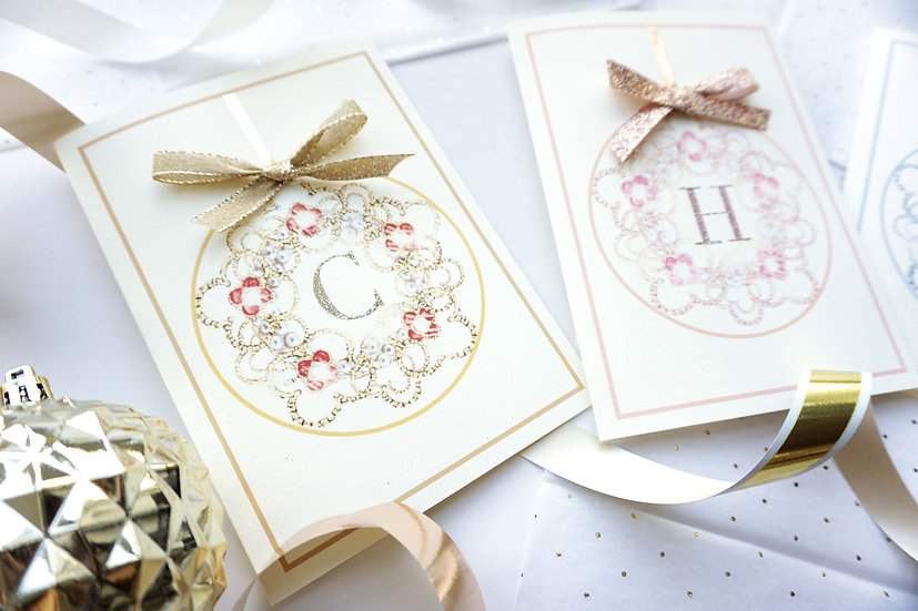 Luxury Initial Ornament (single card)