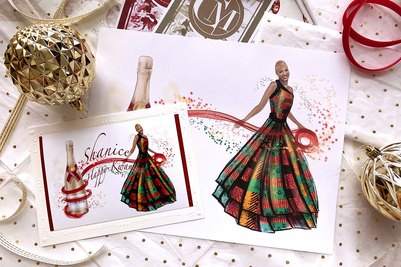 Champagne Chic Kwanzaa (Card Pack & Custom Print)