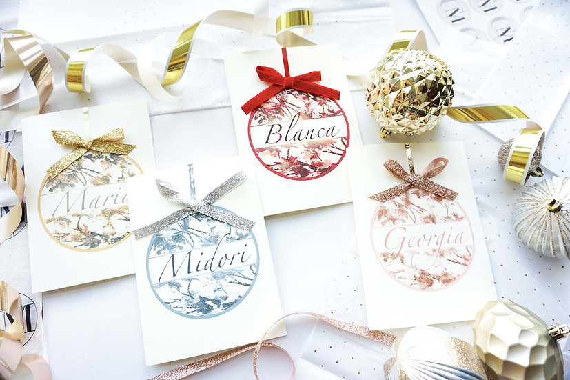 Floral Name Ornament (pack of 4,6 8)