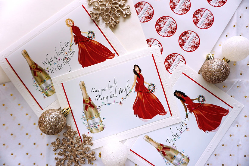Champagne Chic Christmas (Card Pack & 9x12 Print)