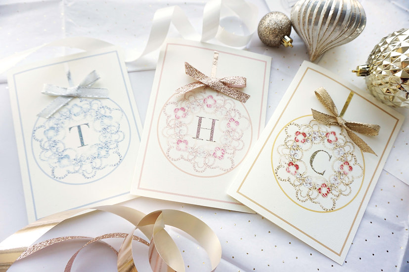Luxury Initial Ornament (pack of 4,6,8)