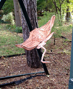 4ft steel and copper stingray fish sculpture