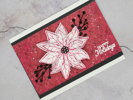Stampin' Up! Poinsettia Petals Happy Holidays Card - Paint Splattering Technique