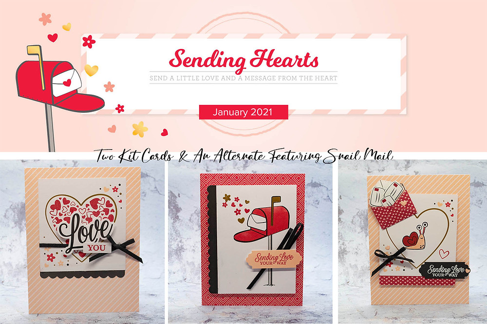 Stampin Up Paper Pumpkin Cards Sending  Hearts January 2021 The Stamping Nook Krista Cleary-Yagci