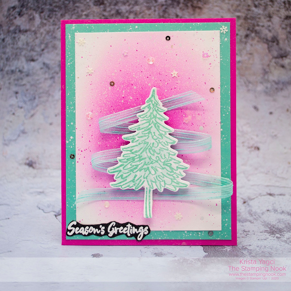 Stampin' Up! Bright and Sparkly In the Pines Christmas Card | Krista Cleary-Yagci | The Stamping Nook