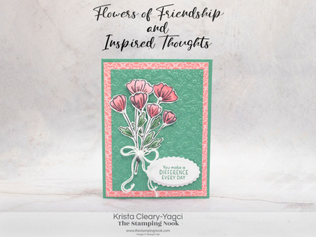 Stampin' Up! Flowers of Friendship and Inspired Thoughts Card with Ornate Floral 3D Embossing Folder