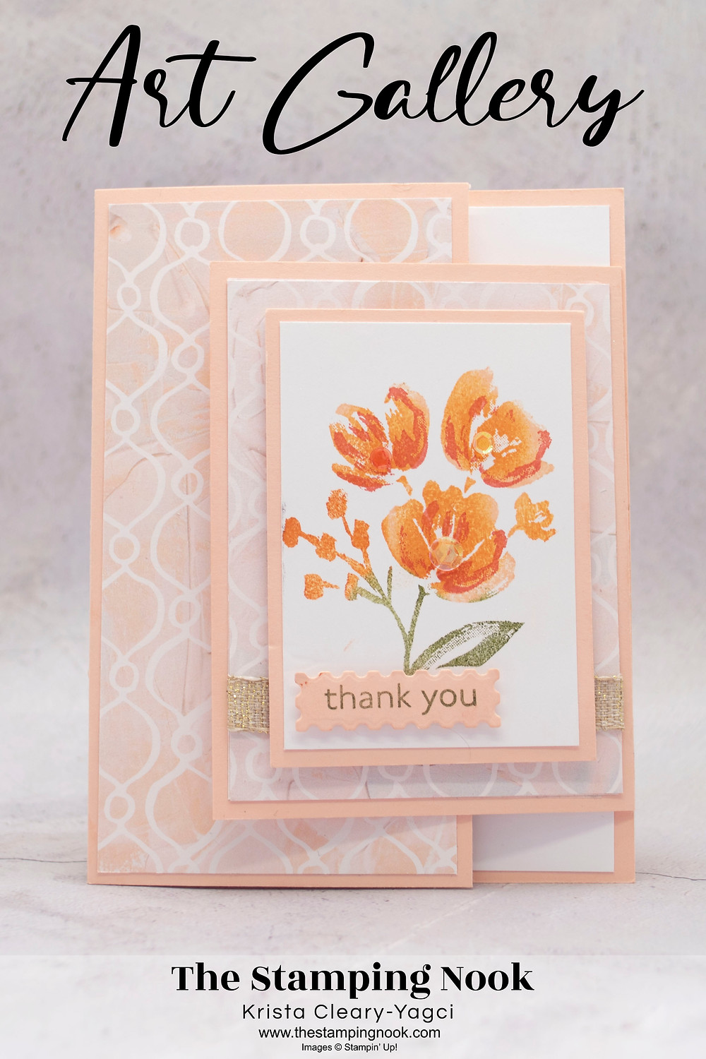 Stampin' Up! Art Gallery Card Ideas - Fun Cold Card - Thank You Cards - The Stamping Nook - Krista-Yagci