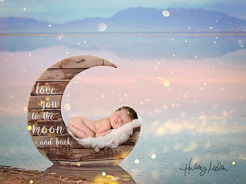 Newborn Digital Backdrop, Background Shiplap Moon on the Dreamy Lake Outside wit