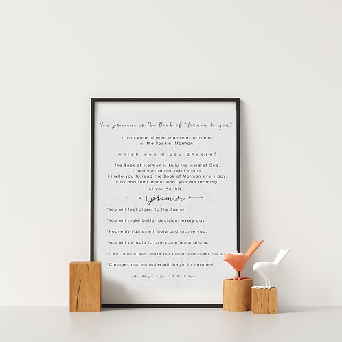 Book of Mormon - Promise - Pres. Nelson - LDS Art - LDS Kids