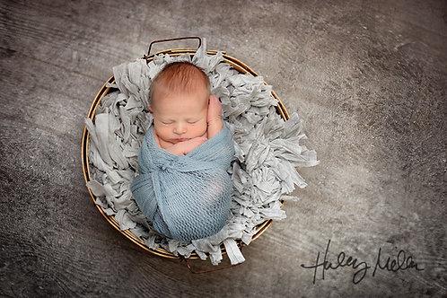 Newborn Boy/Girl Digital Backdrop/Background Rustic Gray Bucket Top View