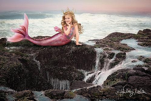Digital Backdrop/Background Beautiful Mermaid on Ocean/Beach with Waves/Rocks -