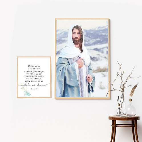 Jesus Christ Fine Art - Christ Art - Instant download - White as Snow - Bible Ar