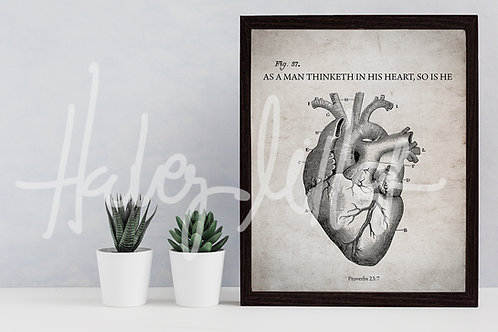 Anatomical Heart - Scripture Art - LDS Art - As A Man Thinketh