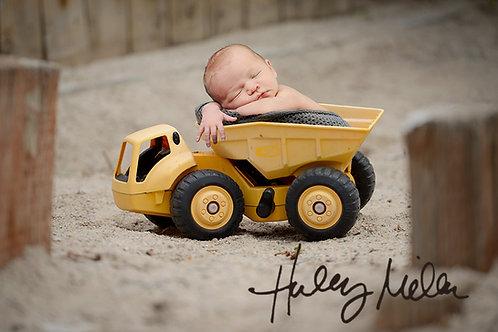 newborn digital photography background yellow truck in sandbox