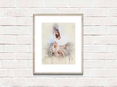 Jesus Christ Fine Art Printable - Christ Art - Instant download - Watercolor - B