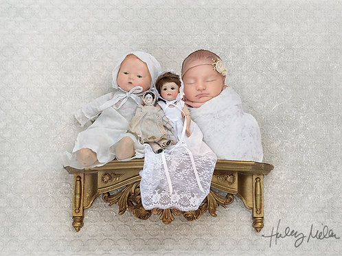 Newborn Digital Backdrop for Baby Girl Blessing Dress Vintage Dolls on Shelf wit