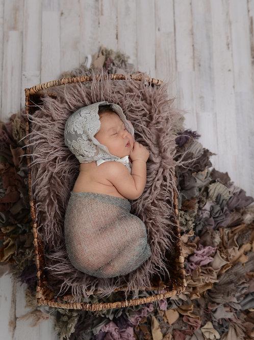 Newborn Girl Digital Backdrop/Background Purple Mauve Textured Top View Basket