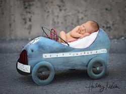 newborn boy digital backdrop blue race car baby in web