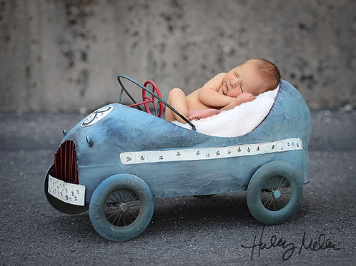 Newborn Boy Digital Backdrop Background Blue Vintage Race Car Prop