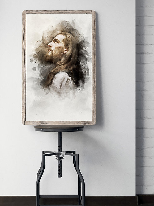 Jesus Christ Fine Art Printable - Watercolor Christ Art - Profile