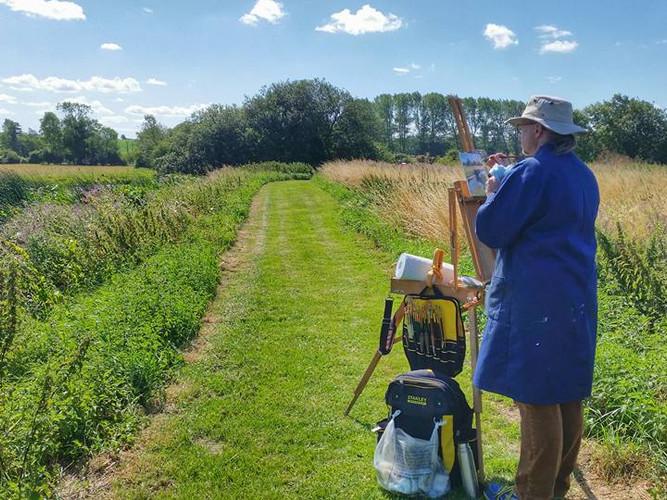 """Painting """"en plein air"""" at Earsham Wetlands Centre, Bungay"""