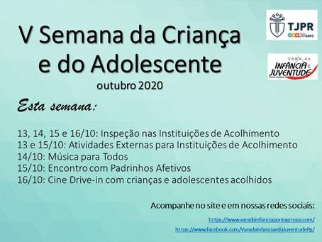 V SEMANA DA CRIANÇA - ATIVIDADES DE 13 A 16 DE OUTUBRO