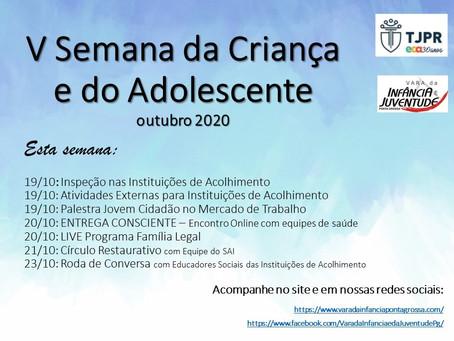 V SEMANA DA CRIANÇA - ATIVIDADES DE 19 A 23 DE OUTUBRO